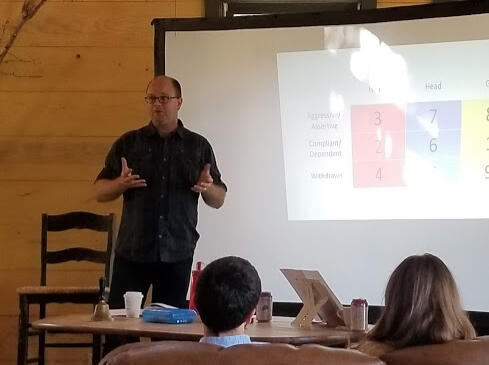 Coach teaching at an Enneagram retreat